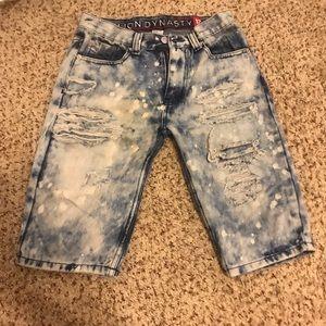 Acid Washed Distressed Denim Shorts For Boys